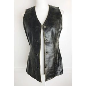 Vintage Gap • 100% Leather Button Down Vest
